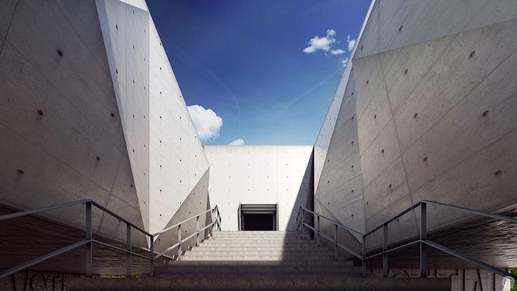 Création de perspective 3D autour du Palais de Justice de Gouveia, Portugal. Réalisation des architectes Barbosa & Guimarães. (...)