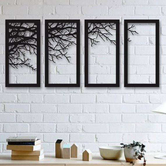 Tree Of Life 4 Pieces Metal Wall Art Modern Rustic Wall Etsy Black Metal Wall Art Metal Tree Wall Art Tree Wall Art Diy