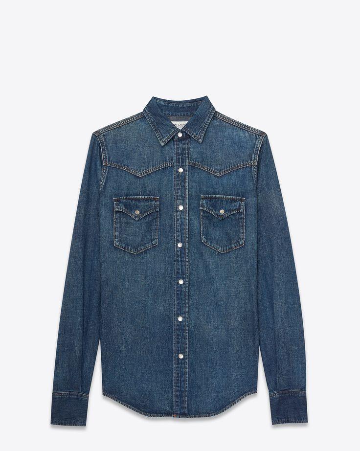 Saint Laurent Chemise Western 70's En Denim Bleu Vintage | YSL.com