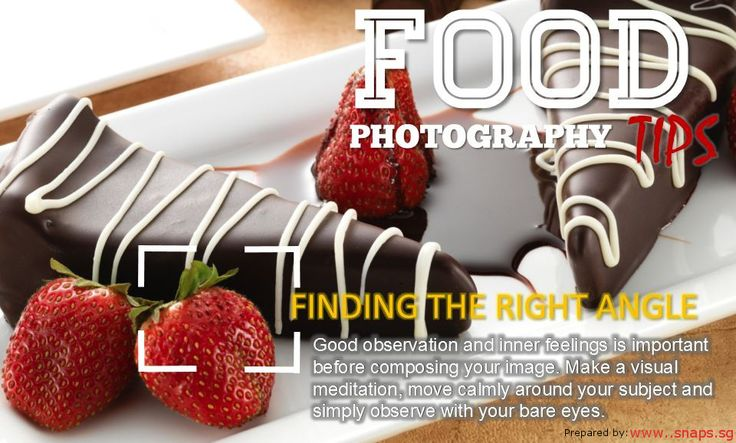 There is no universal rule for taking food photographs that will make your food photographs better. The angle that will make food look good depends on many things. And finding the perfect angle, creates intimate look for a food.  http://snapsphotobook.wordpress.com/2014/08/18/take-food-pics-like-a-pro-photobook-singapore/ OR VISIT www.snaps.sg