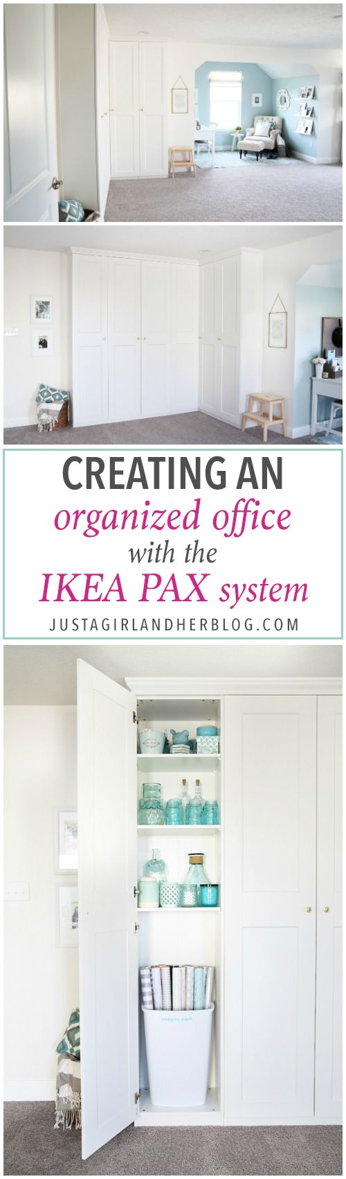 Creating an Organized Office with the IKEA PAX System - Just a Girl and Her Blog