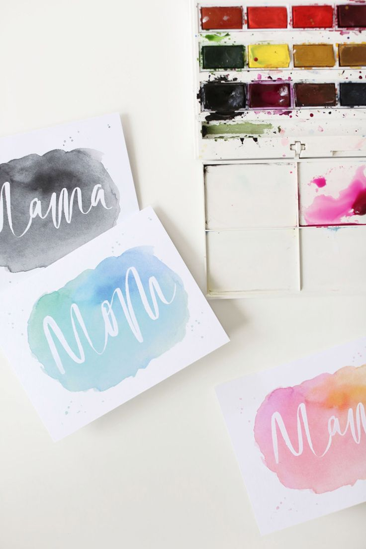 Printable watercolor Mother's Day cards