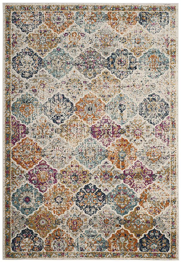 0bb1c276e8b Safavieh Madison Collection MAD611B Cream and Multicolored Bohemian Chic  Distressed Area Rug (5 1