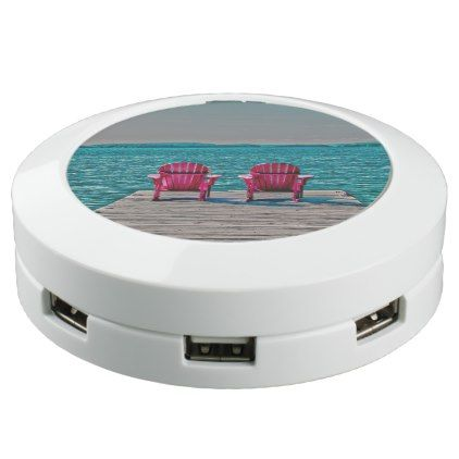 beach chairs on dock at cottage USB charging station - holidays diy custom design cyo holiday family