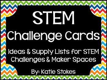 This STEM Challenge Cards Complete Kit includes challenge cards, supply lists, maker space cards, planning page, STEM bin labels and a STEM Center poster! There are STEM challenges for ALL 12 months, 4 for each month. Included in this set:* Supply list, includes all items needed to complete all challenges* Planning page* STEM challenge cards* Maker cards* Clip art (for selected challenges)* STEM Center poster* STEM bin labels* Month labels, if you wish to gather supplies for the entire…