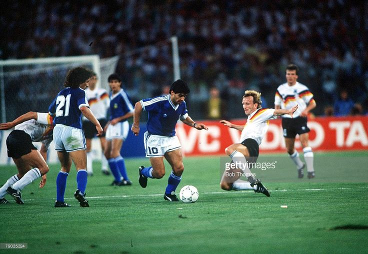 World Cup Final, Rome, Italy, 8th July, 1990, West Germany 1 v Argentina 0, Argentina's Diego Maradona tries to take the ball past West Germany's Andreas Brehme