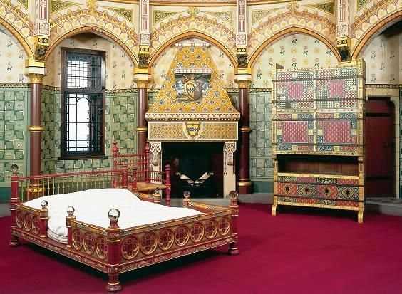 Lady Butes Bedroom At The Butes Fairytale Castle Late 1800s Now A Museum  Painted Furniture And