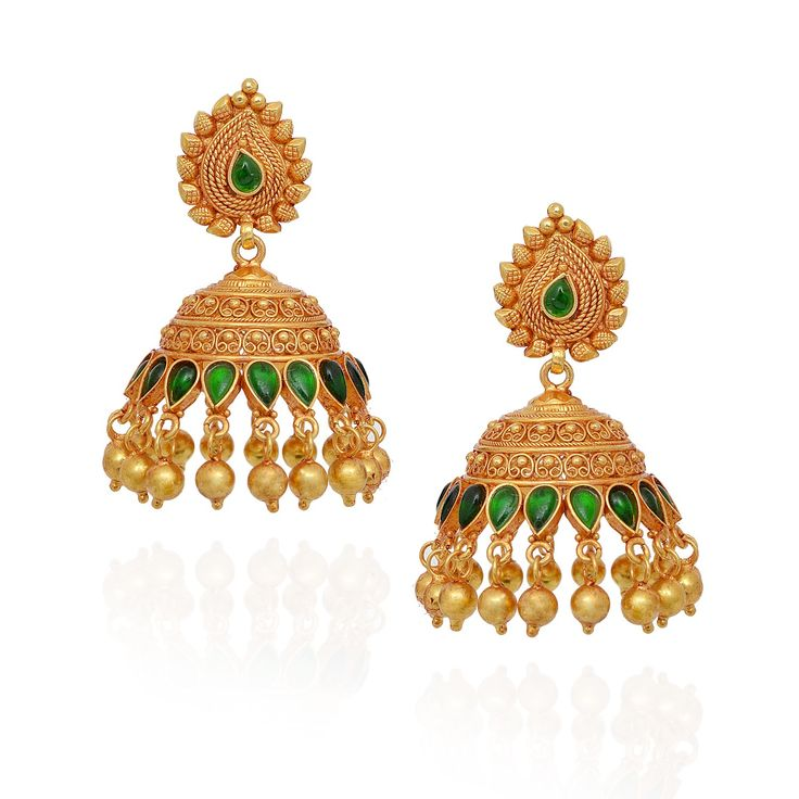 jhumki-Earrings | Pear Green Stones Studded With Yellow Balls Silver Jimmiki | GRT Jewellers