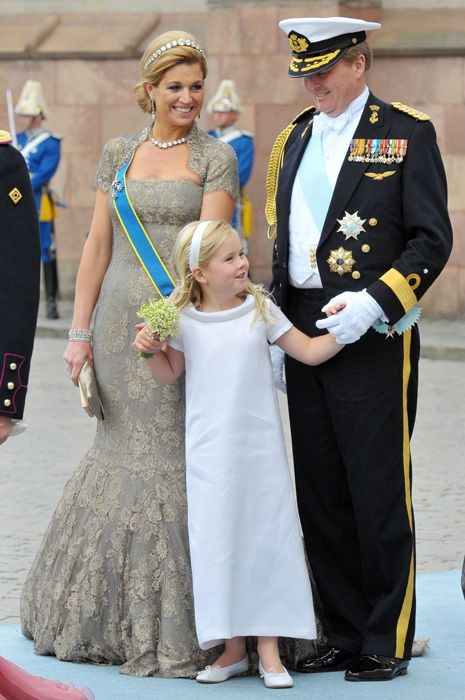 Princess Amalia: The little girl who will become heir to the Dutch throne.  Crown Princess Maxima, Crown Prince Willem Alexander and Princess Catharina Amelia, a flower girl for her godmother Crown Princes Victoria of Sweden on her wedding day, June 2010.