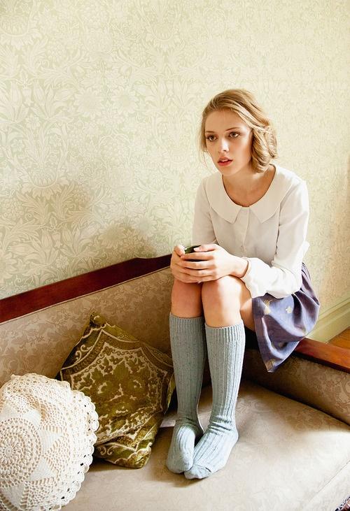 Frances Baker A/W 2012 Lookbook: Blouses, Fashion, Peter Pan Collars, Long Socks, Knee Socks, Classic White, France Baker, Knee High Socks, The Dreamer