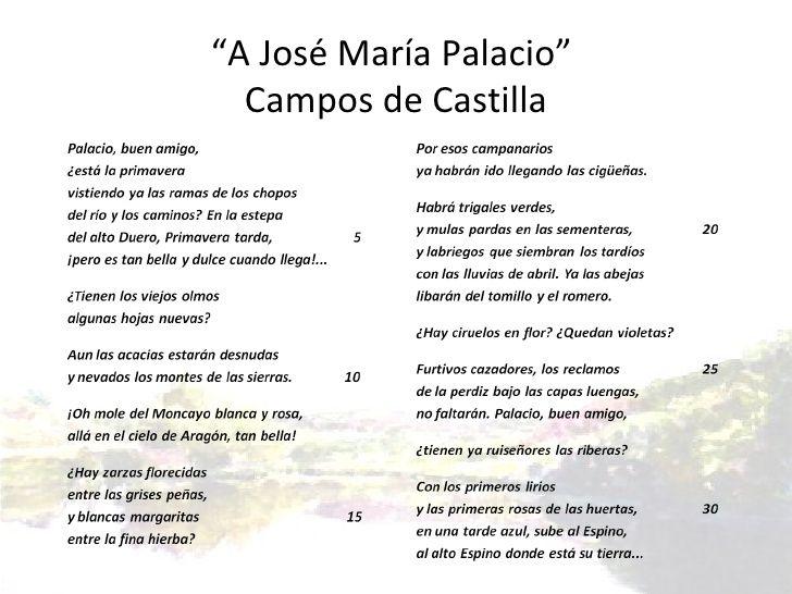 Segunda etapa: Poesía Historicista. Machado en Baeza, publica el 29 de abril de 1913 el poema 'A Jose María Palacio', dentro de la colección 'Campos de Castilla'. Lo hemos seleccionado porque se sitúa en el momento posterior a la muerte de su amada Leonor. Nos ha gustado la naturaleza que tiene y el sentimiento que Machado quiere expresar.