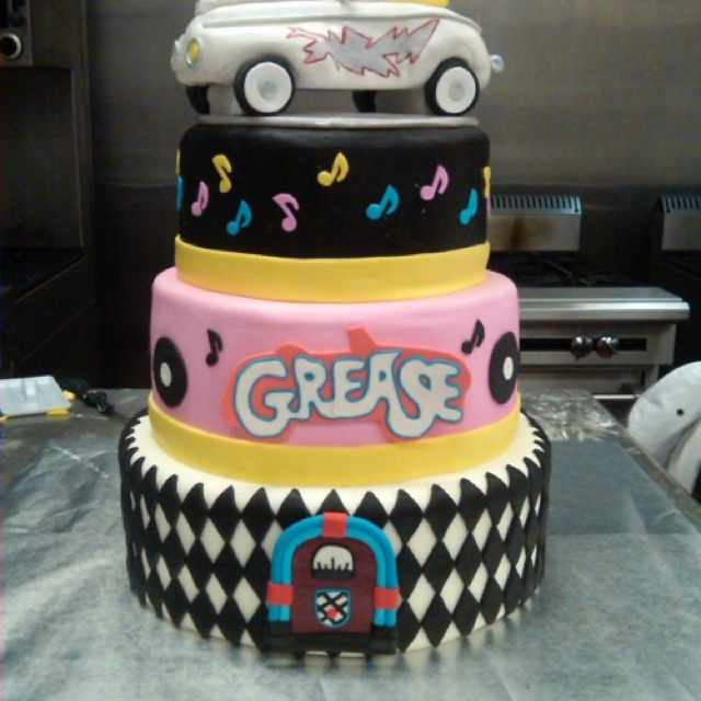 Grease Themed Dummy Cake This Was Done In My Advanced Patisserie And Display Cakes Cl It Our First Decorated For