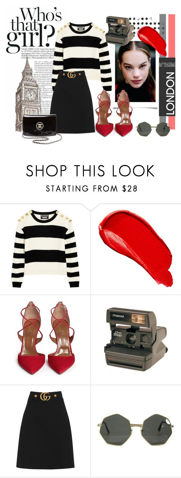"""""""Nice meet you!"""" by diferentprincess ❤ liked on Polyvore featuring Boutique Moschino, Burberry, Aquazzura, Polaroid, Gucci and Chanel"""