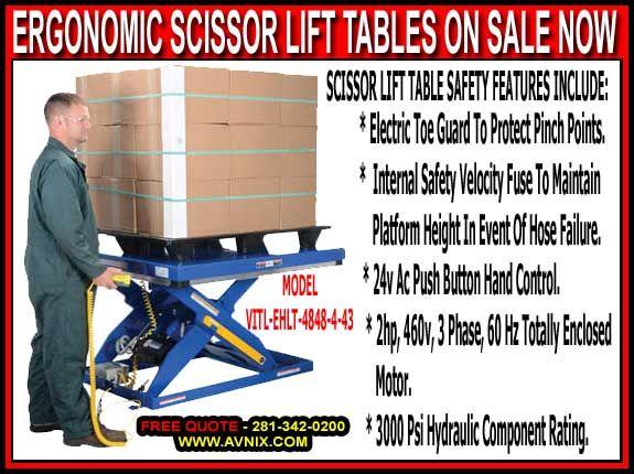 Ergonomic Hydraulic Scissor Lift Tables - FREE Quote 281-342-0200
