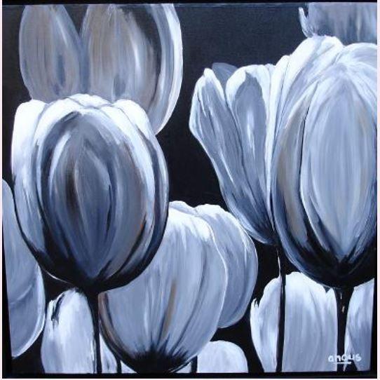 Zwart/wit/grijs tulpen