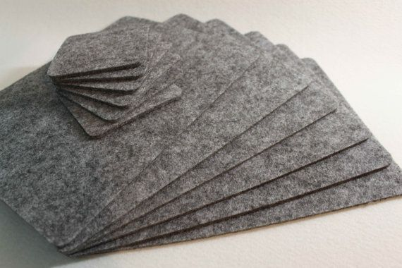 Simple Shape Felt Placemats and coasters .   Set of 12 (6 mat table and 6 coasters) size: Mat Table 29 cm x 22 cm 11,5 x 9 inch  Coasters 10 cm x 10 cm 4 x 4 inch 4 mm felt   Weight : 400 g/m2   Felt is perfect for protecting your table. Spot clean with damp soapy sponge or dry clean.