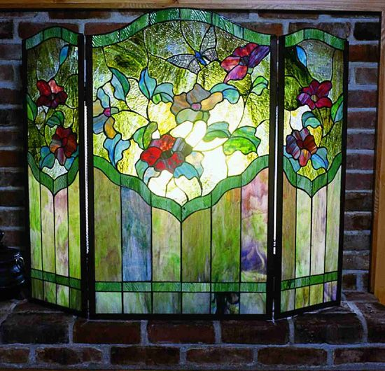 Butterfly Stained Glass Fireplace Screen Stained Glass Fireplace Screen Fireplaces And Mosaics