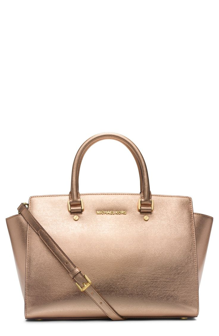 The Selma satchel is beautiful in this shimmering pale gold color | Michael Kors
