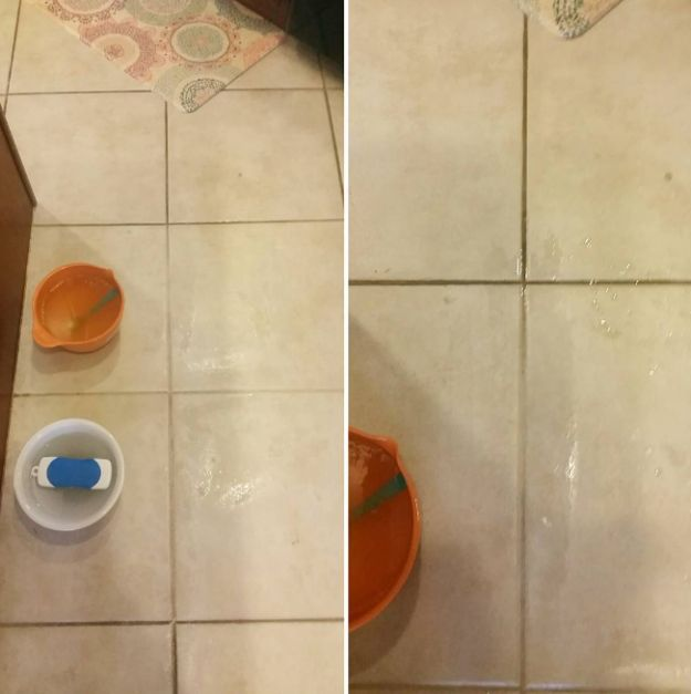 Olvídate de la suciedad en las orillas del azulejo con la ayuda de vinagre, bicarbonato de sodio y jugo de limón. | 17 Brillantes trucos de limpieza que aprendimos de Instagram
