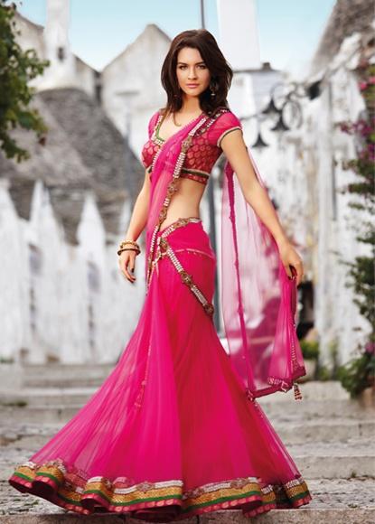 Pink stitched sari from Seasons. ~ Indian Designer Wear Sari