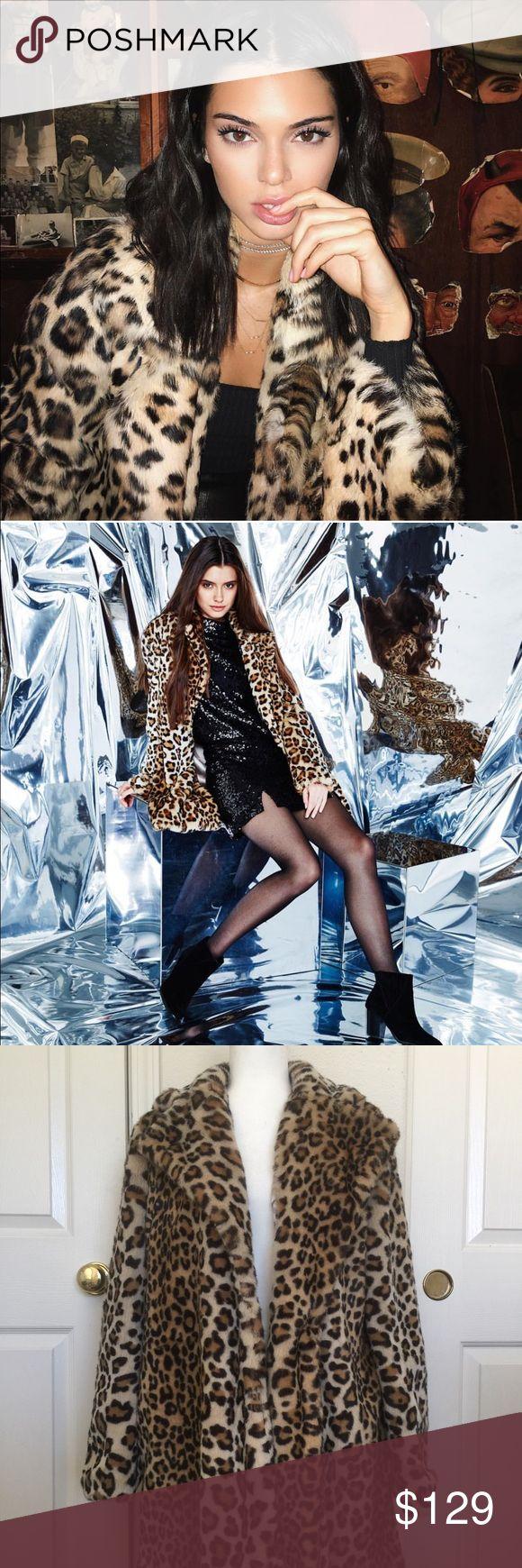 Kendall& Kylie Faux leopard fur coat NWT Kendall & Kylie Jackets & Coats