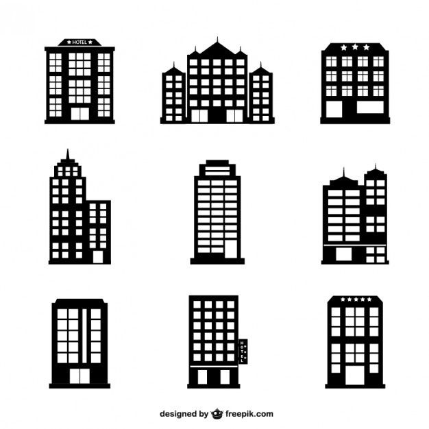 Hotel Buildings Silhouettes Set In 2021 Building Silhouette Hotel Building Building Icon