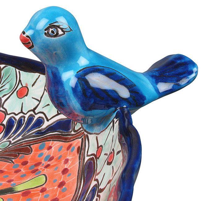 Talavera Birdbath   Mexican Garden Pottery