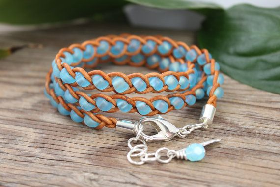 SALE Braided Triple Leather Wrap Bracelet, Bohemian, Spring, Sky Blue Silver feather