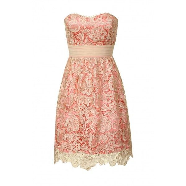 Coral & Cream Lace Detail Overlay Prom Dress (85 AUD) ❤ liked on Polyvore featuring dresses, vestidos, robes, pink, red prom dresses, red dress, sheer prom dresses, cream prom dresses and coral cocktail dress