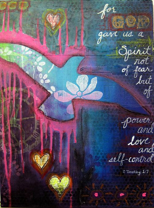 Diana Dellos, bird painted on canvas, dripping acrylic paint, Bible quote