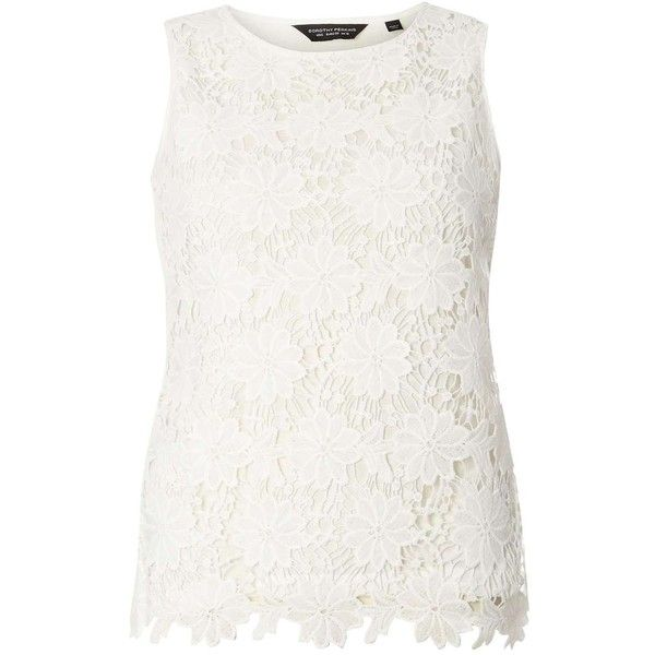 Dorothy Perkins Ivory Lace Shell Top ($29) ❤ liked on Polyvore featuring tops, white, white sleeveless top, lace up front top, lace tank, lace up top and lace up tank top