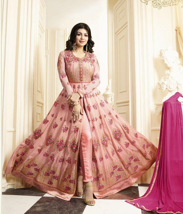 #Pink #Pastel #Anarkali #Embroided #Suit