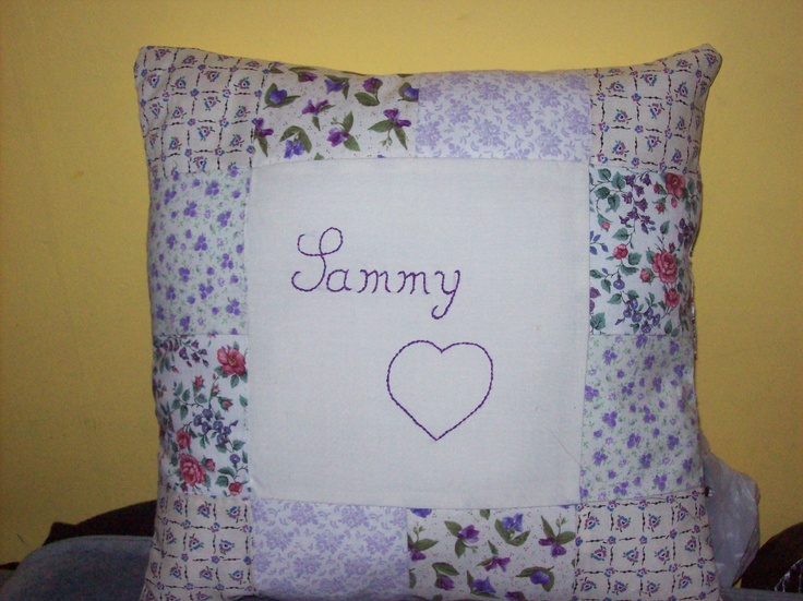 Personalized Cushion, hand embroidered.  Please take a look at the items I sell @ www.lemayed-for-you.webs.com, thanks.