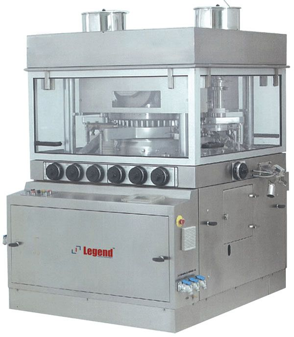 Legend Septa Press Double rotary tablet compression machine  is an Advanced High Speed Tableting machine enhanced with Hydraulic Power Pack system &  Auto Lubrication With Excellent accessibility for quick cleaning and suitable for large batch production also.