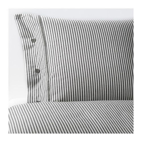 IKEA - NYPONROS, Housse de couette et taie(s), Deux places/grand deux places, , Teint sur fil; le fil est teinté avant d'être tissé. Confère une très grande douceur au linge de lit.Boutons décoratifs recouverts de tissu maintenant oreiller et couette bien en place.
