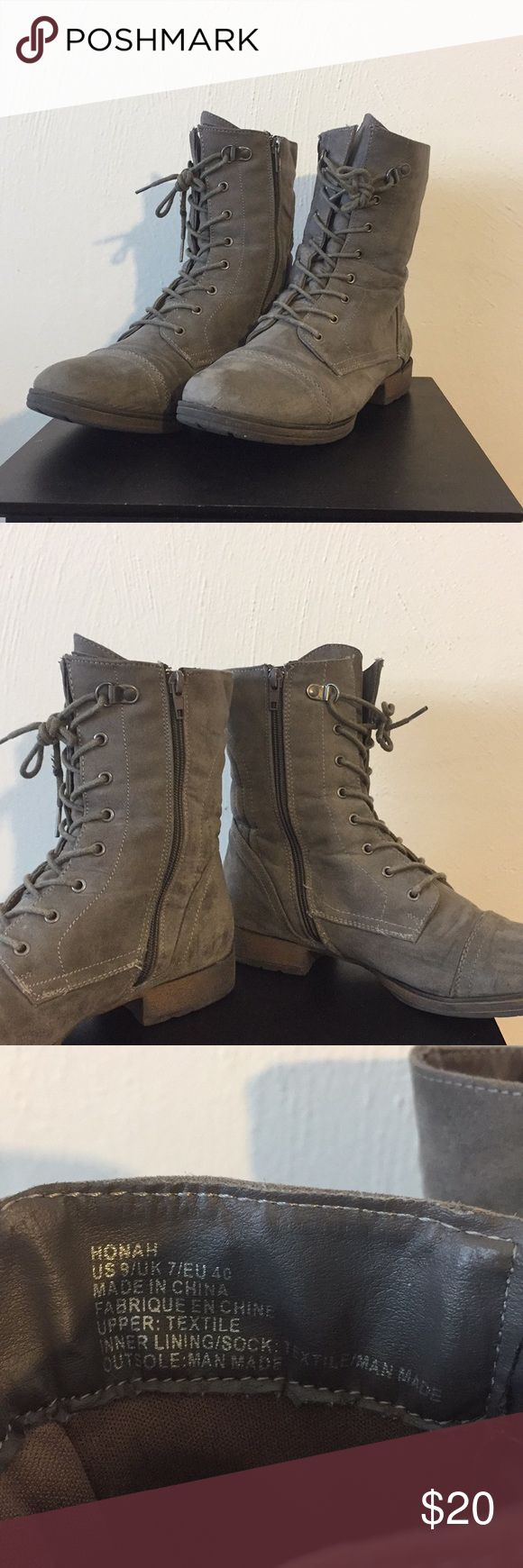 Gray Boots (shoeDazzle) Worth but still have a lot to offer.  They are comfortable if you're using them for work and you're standing on your feet for a long period of time!  •••••Offers are welcome!•••••• Shoe Dazzle Shoes Combat & Moto Boots
