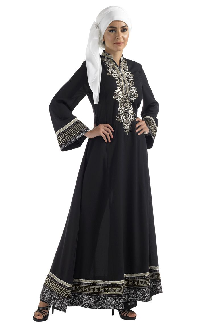 Fun flair abaya in crepe fabric with embroidered Neck and Print hem.