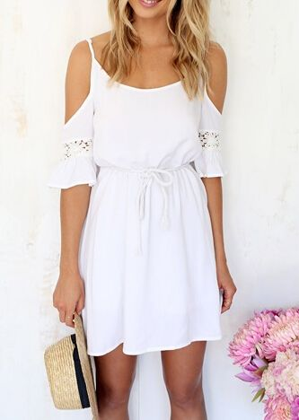 White Off The Shoulder Embroidered Lace-up Pleated Dress 13.67