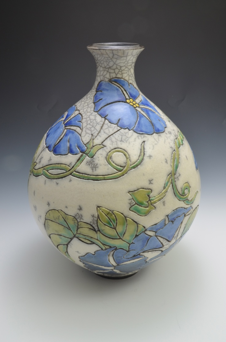 Morning Glory bottle Joann Oxford carving porcelain textures flowers clay pottery ceramics nouveau lines