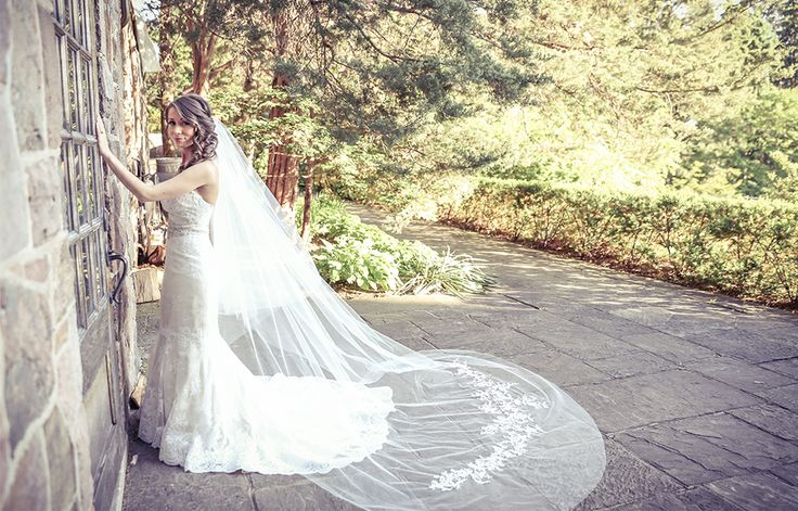 Bride with long traditional veil | Vintage Wedding Photography | www.newvintagemedia.ca