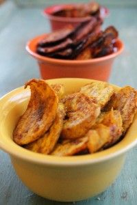 Three Flavors Baked Plantain Chips: Curry Spicy-Chili and Lime Cinnamon Sugar