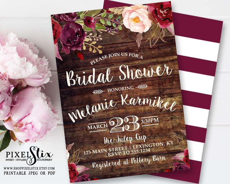 Country Bridal Shower Invitation, Floral Wood Bridal Shower Invite, Vintage Rose and Peony, Boho Bridal Shower, Marsala Cranberry Burgundy by shopPIXELSTIX on Etsy
