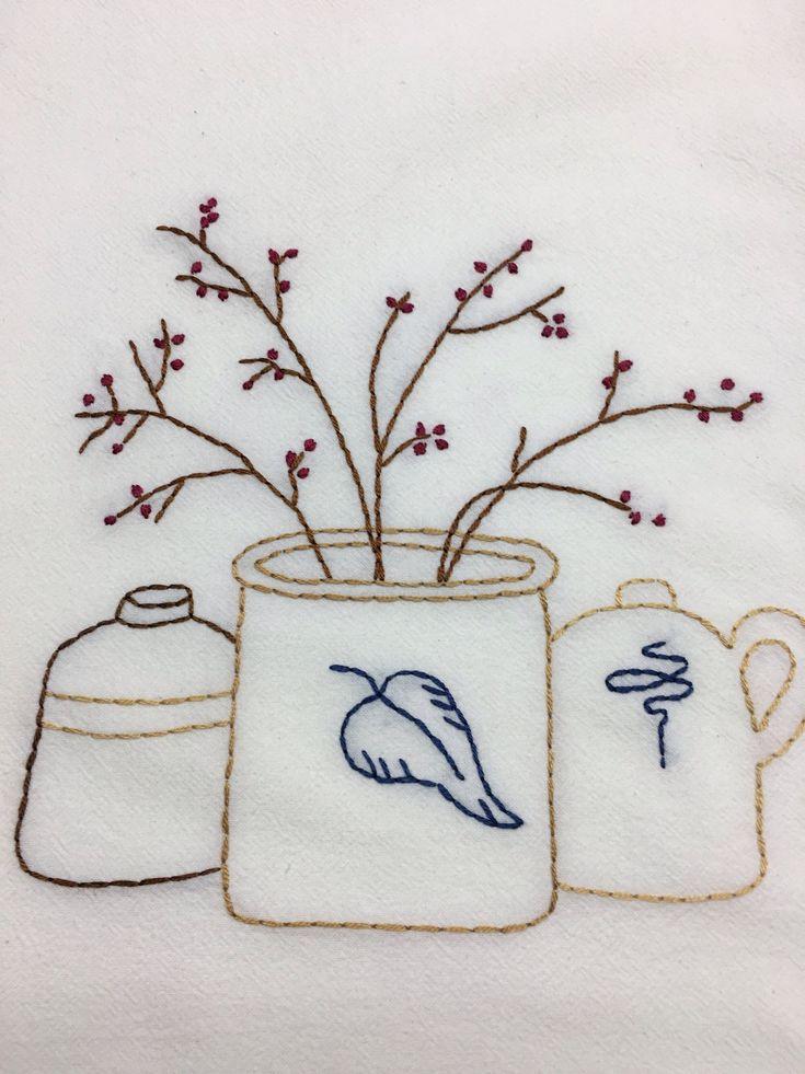 Primitive kitchen dish towel, crocks and berries, farmhouse flour sack towel,hand stitched flour sack towel, tea towel,Mother's Day Gift