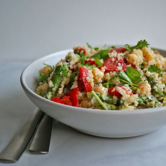 roasted asparagus amp amp red pepper quinoa salad it s colorful and ...