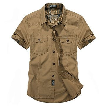 Designer AFSJEEP Outdoor Sport Cotton Breathable Multi Pockets Cargo Short Sleeve Dress Shirts for Men - NewChic Mobile.