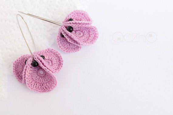 Crochet earrings Baski lilac por OczkOhandmade en Etsy, $13.00