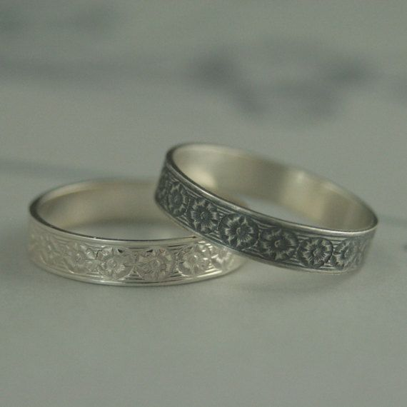 Fabulous Silver Wedding Band Marigold Floral Wedding Band Antique Style Ring