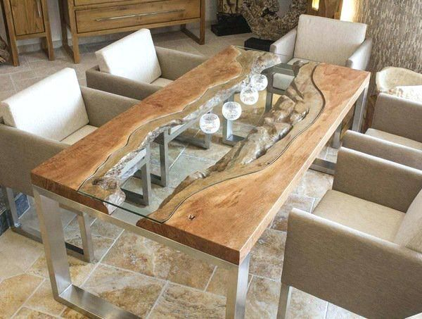 Enjoy Meal Comfortably While Sitting Together On The Unique Dinning Table In 2020 Wood Dining Room Dining Room Design Slab Dining Tables