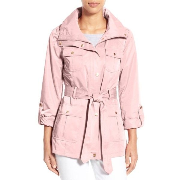 Women's Ellen Tracy Techno Short Trench Coat ($120) ❤ liked on Polyvore featuring outerwear, coats, blush, petite, pink trench coat, trench coat, petite trench coat, slim fit coat and utility coat