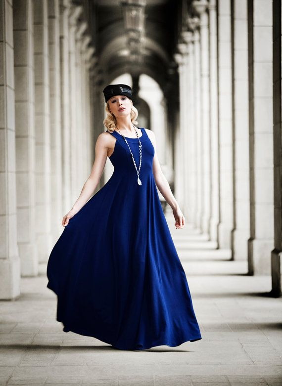 Cleopatra Evening Gown Navy Blue dress shown by JessicaRoseFashion, $289.00